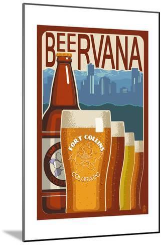 Fort Collins, Colorado - Beervana Vintage Sign-Lantern Press-Mounted Art Print