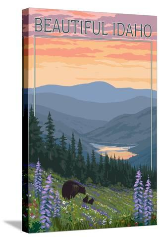 Idaho - Bear and Spring Flowers-Lantern Press-Stretched Canvas Print