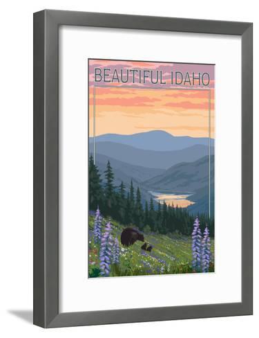 Idaho - Bear and Spring Flowers-Lantern Press-Framed Art Print