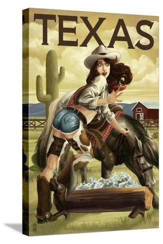 Texas - Cowgirl Pinup-Lantern Press-Stretched Canvas Print