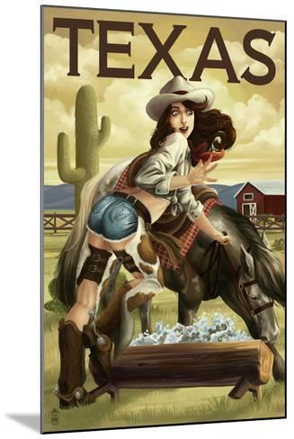 Texas - Cowgirl Pinup-Lantern Press-Mounted Art Print