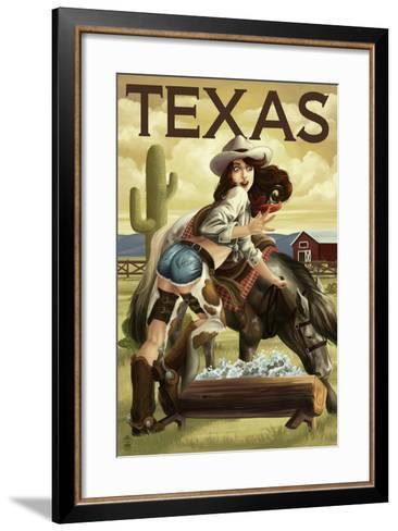 Texas - Cowgirl Pinup-Lantern Press-Framed Art Print