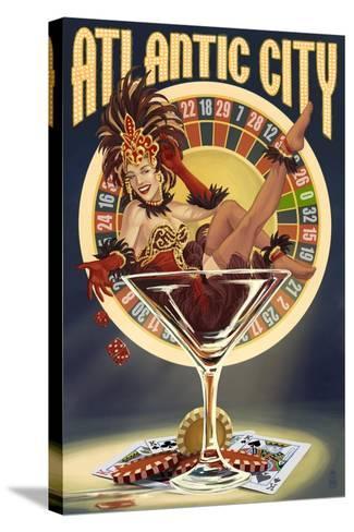 Atlantic City - Pinup Showgirl-Lantern Press-Stretched Canvas Print