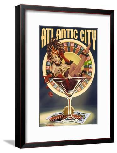 Atlantic City - Pinup Showgirl-Lantern Press-Framed Art Print
