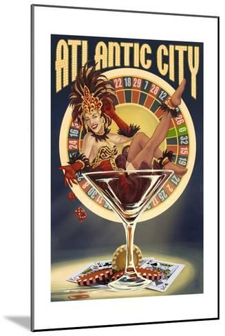Atlantic City - Pinup Showgirl-Lantern Press-Mounted Art Print