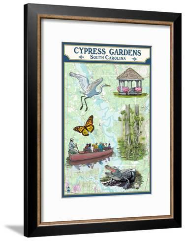 Cypress Gardens, South Carolina - Nautical Chart-Lantern Press-Framed Art Print