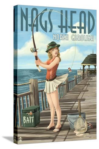 Nags Head, North Carolina - Pinup Girl Fishing-Lantern Press-Stretched Canvas Print