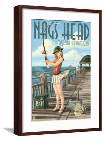 Nags Head, North Carolina - Pinup Girl Fishing-Lantern Press-Framed Art Print