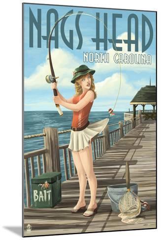 Nags Head, North Carolina - Pinup Girl Fishing-Lantern Press-Mounted Art Print
