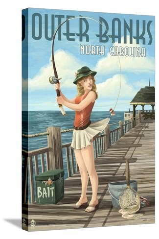 Outer Banks, North Carolina - Pinup Girl Fishing-Lantern Press-Stretched Canvas Print