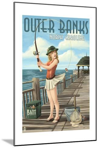 Outer Banks, North Carolina - Pinup Girl Fishing-Lantern Press-Mounted Art Print