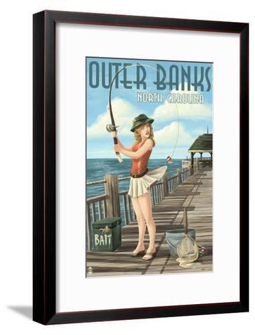 Outer Banks, North Carolina - Pinup Girl Fishing-Lantern Press-Framed Art Print