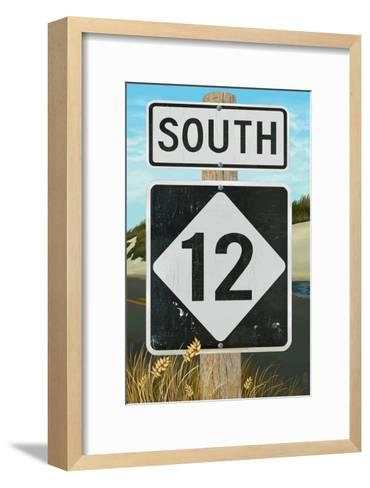 Outer Banks, North Carolina - Route 12 Sign #2- Lantern Press Poster-Lantern Press-Framed Art Print