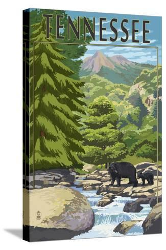Tennessee - Bears and Creek-Lantern Press-Stretched Canvas Print