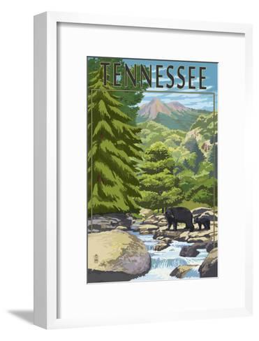 Tennessee - Bears and Creek-Lantern Press-Framed Art Print