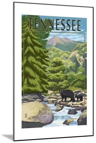 Tennessee - Bears and Creek-Lantern Press-Mounted Art Print