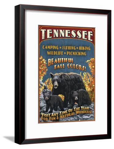 Tennessee - Black Bears Vintage Sign-Lantern Press-Framed Art Print