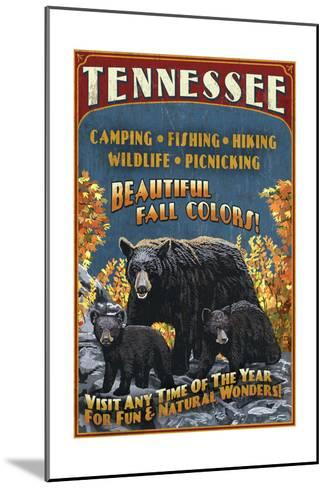 Tennessee - Black Bears Vintage Sign-Lantern Press-Mounted Art Print