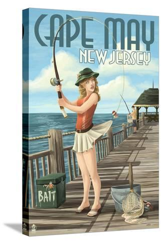 Cape May, New Jersey - Fishing Pinup Girl-Lantern Press-Stretched Canvas Print