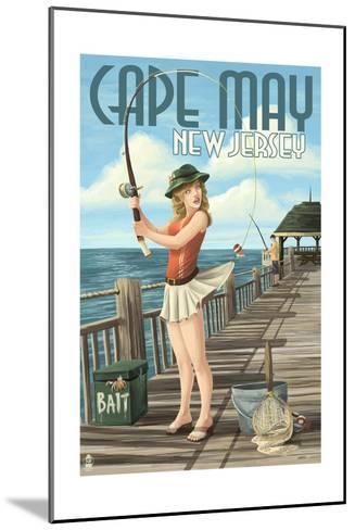 Cape May, New Jersey - Fishing Pinup Girl-Lantern Press-Mounted Art Print