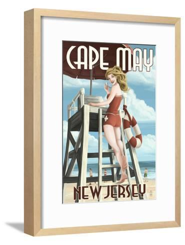 Cape May, New Jersey - Lifeguard Pinup Girl-Lantern Press-Framed Art Print