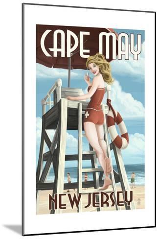 Cape May, New Jersey - Lifeguard Pinup Girl-Lantern Press-Mounted Art Print