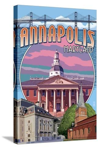 Annapolis, Maryland - Montage-Lantern Press-Stretched Canvas Print