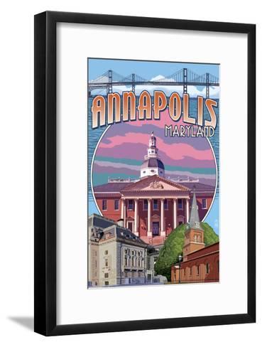 Annapolis, Maryland - Montage-Lantern Press-Framed Art Print