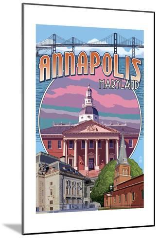 Annapolis, Maryland - Montage-Lantern Press-Mounted Art Print
