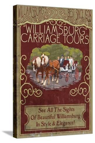 Williamsburg, Virginia - Carriage Tours Vintage Sign-Lantern Press-Stretched Canvas Print