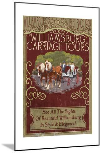 Williamsburg, Virginia - Carriage Tours Vintage Sign-Lantern Press-Mounted Art Print