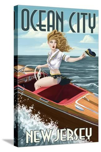 Ocean City, New Jersey - Boating Pinup Girl-Lantern Press-Stretched Canvas Print