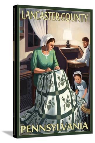 Lancaster County, Pennsylvania - Amish Quilting Scene-Lantern Press-Stretched Canvas Print