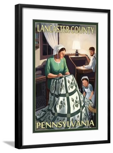 Lancaster County, Pennsylvania - Amish Quilting Scene-Lantern Press-Framed Art Print