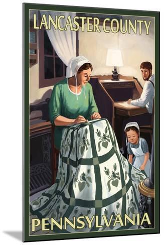 Lancaster County, Pennsylvania - Amish Quilting Scene-Lantern Press-Mounted Art Print