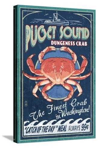 Puget Sound, Washington - Dungeness Crab Vintage Sign-Lantern Press-Stretched Canvas Print