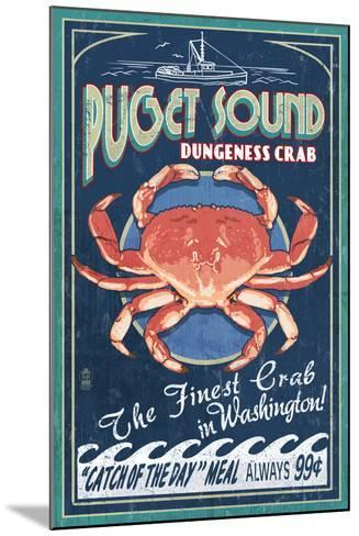 Puget Sound, Washington - Dungeness Crab Vintage Sign-Lantern Press-Mounted Art Print