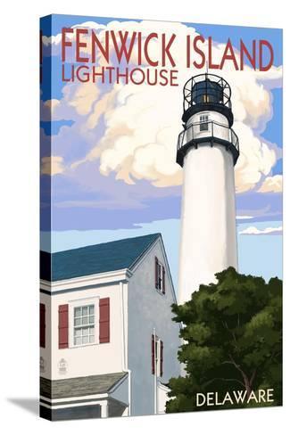 Fenwick Island, Delaware - Lighthouse-Lantern Press-Stretched Canvas Print