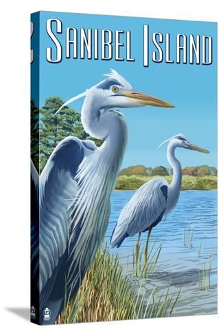 Blue Heron - Sanibel Island, Florida-Lantern Press-Stretched Canvas Print