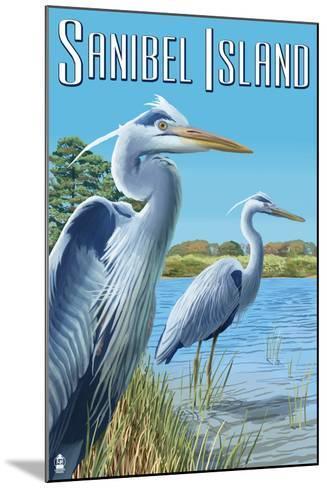 Blue Heron - Sanibel Island, Florida-Lantern Press-Mounted Art Print