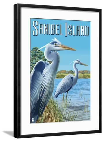 Blue Heron - Sanibel Island, Florida-Lantern Press-Framed Art Print