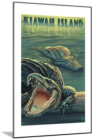 Kiawah Island, South Carolina - Alligator Scene-Lantern Press-Mounted Art Print