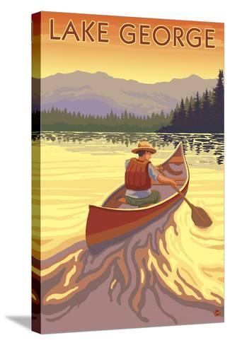 Lake George, California - Canoe Scene-Lantern Press-Stretched Canvas Print