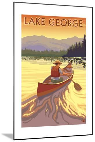 Lake George, California - Canoe Scene-Lantern Press-Mounted Art Print
