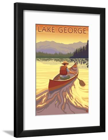 Lake George, California - Canoe Scene-Lantern Press-Framed Art Print