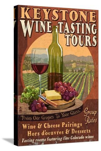 Keystone, Colorado - Wine Tasting Vintage Sign-Lantern Press-Stretched Canvas Print