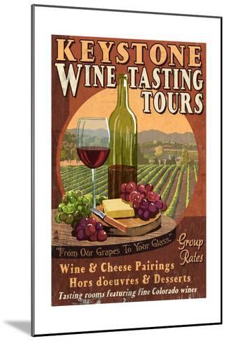 Keystone, Colorado - Wine Tasting Vintage Sign-Lantern Press-Mounted Art Print
