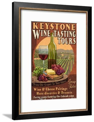 Keystone, Colorado - Wine Tasting Vintage Sign-Lantern Press-Framed Art Print