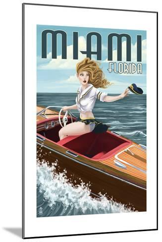 Miami, Florida - Pinup Girl Boating-Lantern Press-Mounted Art Print
