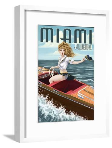 Miami, Florida - Pinup Girl Boating-Lantern Press-Framed Art Print